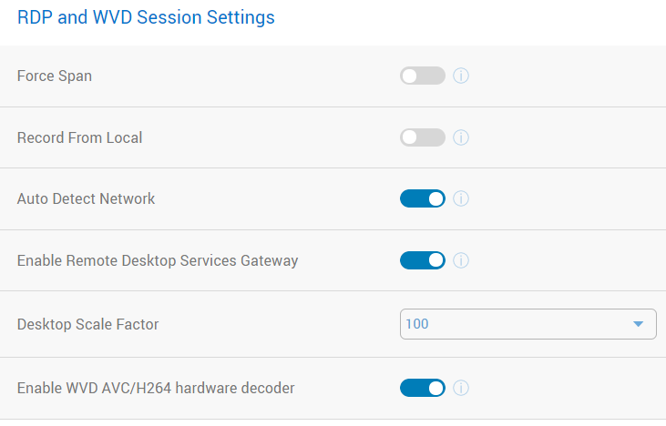 RDP Session Settings