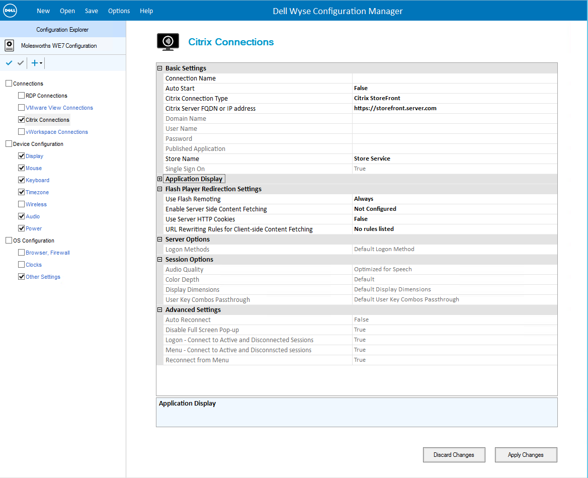 WCM Citrix config page